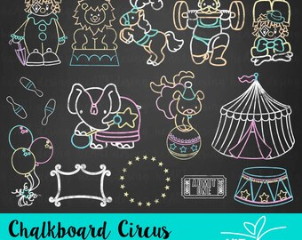 Chalkboard Circus Clipart / Digital Clip Art for Commercial and Personal Use / INSTANT DOWNLOAD