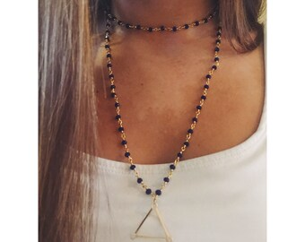 Rosary Double Wrap Necklace with Triangle Pendant