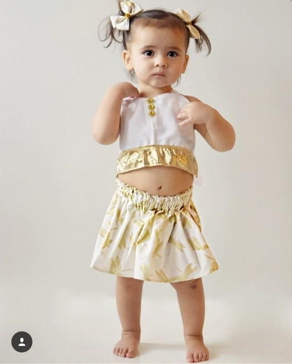 Dragonfly skirt- metallic gold dragonfly baby skirt toddler skirt