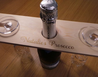 Wine glass and bottle holder- - can be personalised