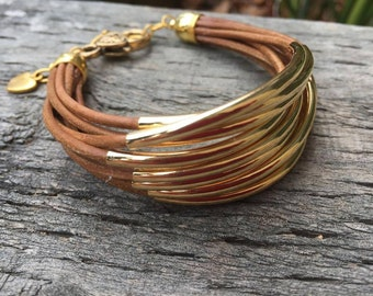 Brown Leather Bracelet with Gold Tube Beads