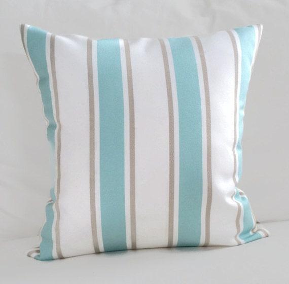 Throw Pillow Blue Brown Stripe Indoor Outdoor Nantucket