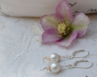 Swarovski Pearl and Crystal ab Drop Earrings