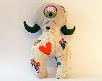 Lola-Cute Monster Plushie Toy-OOAK-Stuffed animal doll-Hug Stuffie Monster for kids or adults