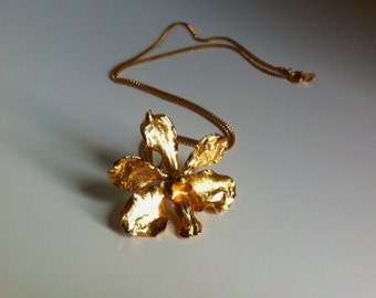 Vintage 24k Gold Plated Orchid Pendant Necklace