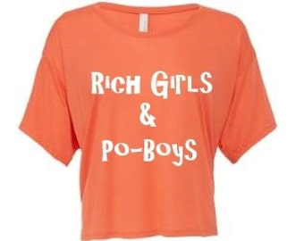 "Ladies Cropped ""Rich Girls & Po-Boys"" T-shirt."