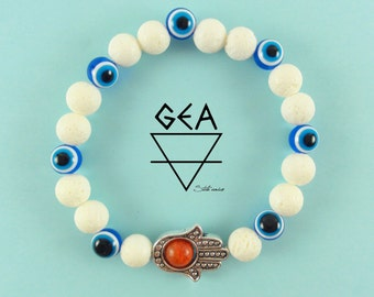 Greek bracelet for protection-Greek Protection Bracelet-Greek Evil Eye Bracelet-Greek Bracelet-Fatima Hand-White Coral