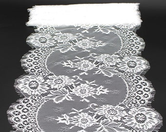 Soft Eyelash French Lace Trim 33 cm Wide for Bridal Veil Skirt Dress Lace Trim 3 Meters