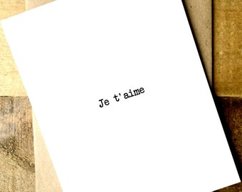 Je t'aime - Love card - Boyfriend Card - Girlfriend Card - Husband Card - Wife Card - French Card - I love you card