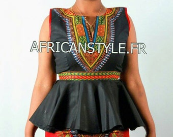 Ensemble top évasé noir mini jupe wax Addis-Abeba rouge