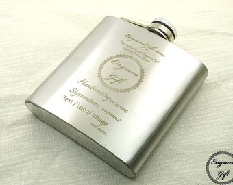 Custom Personalized 6oz Steel Flask Wedding Favor , Your Handwriting, Text, Logo