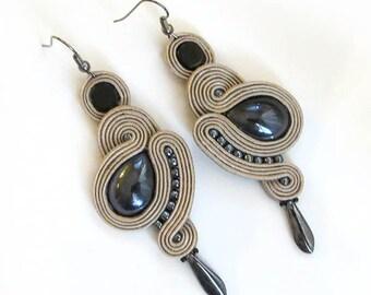 Beige Earrings grey earrings soutache Earrings beige chandelier earrings long chandelier earrings dangle & drop earrings
