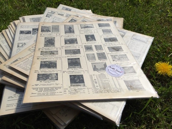 Vintage STAMP PAGES / Old Book Pages / Stamp Catalogue Pages / Carte Postale /Decoupage Paper // Origami Paper Sheets // Scrapbook Paper