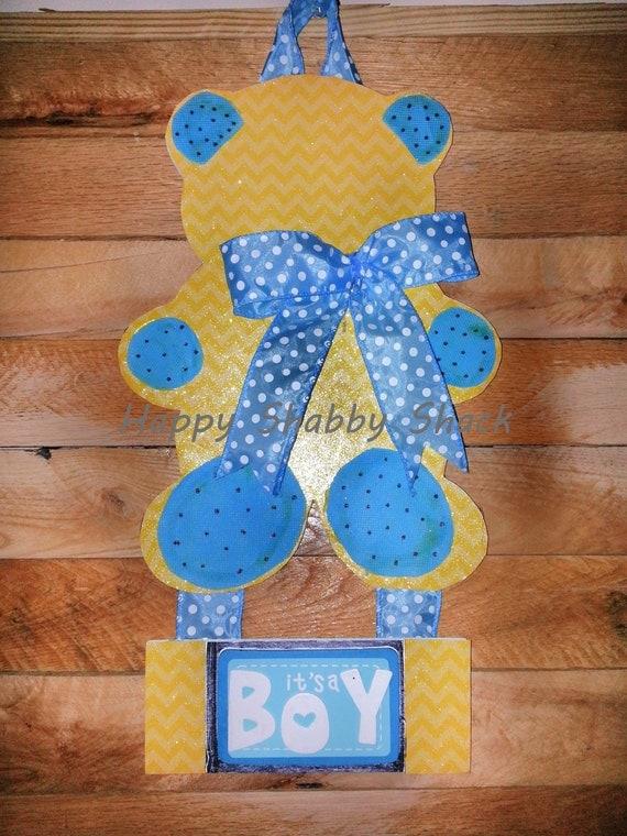 Boy bear door hanger baby boy nursery decor by for Baby boy door decoration