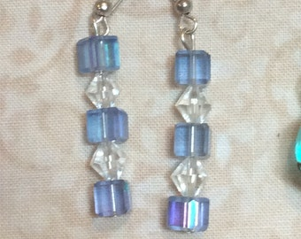 Clear and blue crystals dangles