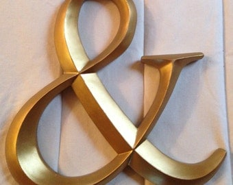 Large wall letters, Ampersand, Large gold letter, Initials, Wedding momogram, Any color/letter
