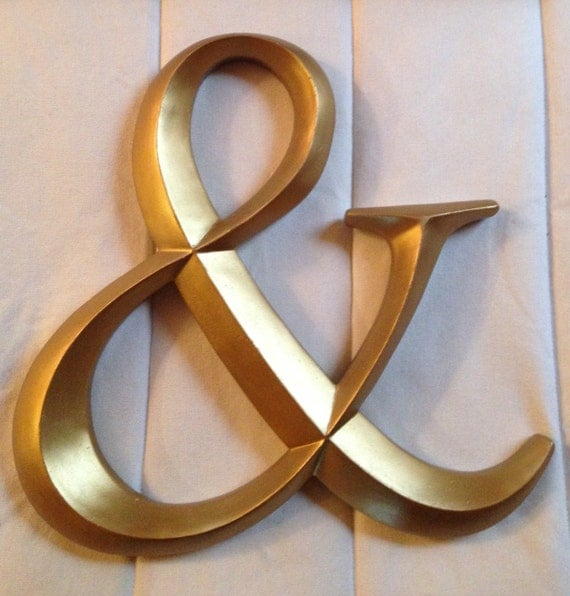 Large wall letters ampersand large gold letter initials for Gold letters for wall