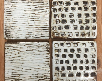 ceramic coasters // set of 4 // handcarved stoneware // variety of textures