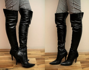 Vintage Overknee Boots Spaziomoda Bologna Real Leather Made in Italy 37 Eur, 4 UK, USA 6 1/2