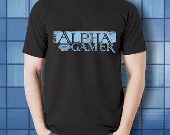Alpha Gamer T-shirt  | black tshirt for cooperative board gamers, video and digital gamers, and fans of analog tabletop role playing games