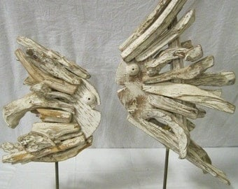 2 Whimsical Driftwood Fish Sculptures