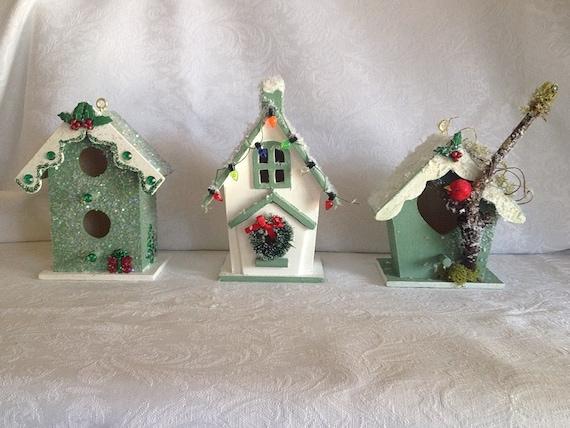 Miniature Christmas Birdhouses // Ornaments