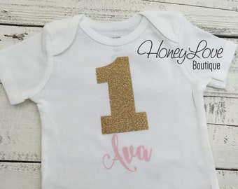 Personalized NAME - number 1 one light pink and gold glitter shirt bodysuit, First Birthday, 1st Cake Smash baby girl infant toddler