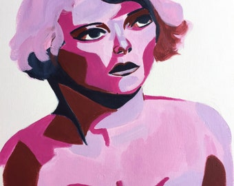 Magenta woman painting original figurative art face 9x12