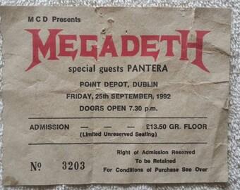 1992 Megadeth Concert Ticket