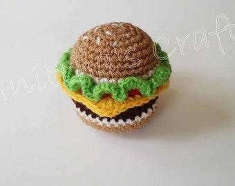 Crochet amigurumi hamburger,Crochet pretend food,Crochet hamburger,Crochet food plush,Amigurumi hamburger,Crochet food,Crochet play food