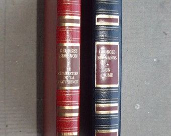 2 french novels of 1973 and 1975 / SIMENON and BERNANOS / Detective story vintage / hardcover / scenery library