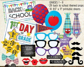 Photo Booth Props, BACK TO SCHOOL, 1st day of school, back to school night, elementary, printable sheets, instant download