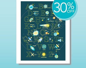 "30% OFF Astrophysics Alphabet Poster: girl or boy nursery art; outer space-themed ABC poster for kids; 18 x 24"" print; choose a color scheme"