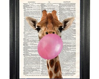 Giraffe Bubble. Upcycled vintage dictionary book page graphic image design print art
