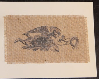 Burlap Print, 8x10 matted--Flying Angel with Wreath