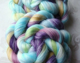 Wool Roving - Merino - Bamboo - Nylon - Crown of Jewels -  4 - 8 oz. - Ready to Ship!