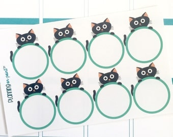 Black Cat Planner Sticker Labels