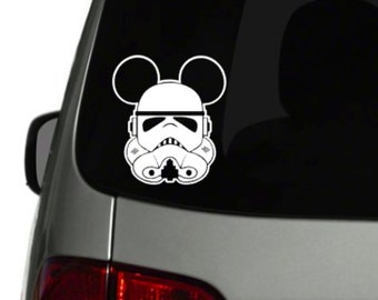 Mickey Ears Stormtrooper Star Wars car decal vinyl 6 x 5 inch size Your Color CHOICE! GLITTER OPTIONS!