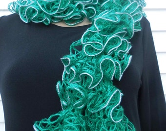 Green  Color,Scarf,Ruffle Knit Scarf, Sashay,Spring,Salsa Scarf,Autumn Scarf,Fashion Scarf