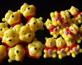 Lot 10pcs Yellow Bear Resin Cabochon Flatbacks w/rhinestones Scrapbooking  Bear Face or Whole Body Bear Resin Cabochon 10pcs
