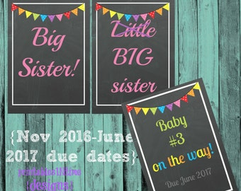 Big Sibling Signs- Pregnancy Announcement- 2 BIG SISTERS instant download