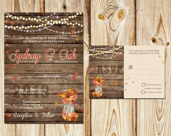 Fall Rustic Wedding Invitation Set