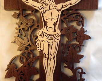 Vine Cross Crucifix - Maple & Walnut