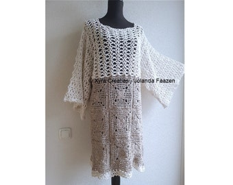 PATR1081 - Xyra Crochet-pattern - Dress / tunic with wide sleeves - (Dutch & English-US)