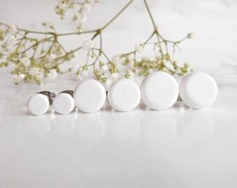 White Stud Earring Set - Set of Three Earrings - White Sterling Silver Studs - Earrings For Men - Boyfriend Gift - Girlfriend Gift