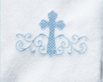 Cross Machine Embroidery Design - Bridal - Wedding  - Baptism - Christening - Monogram - Prayer - Small Cross with Swirls - 4x4