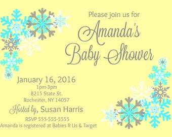 Printable, Baby Shower invitation,  5x7 personalized, custom, winter,snowflakes,  downloadable