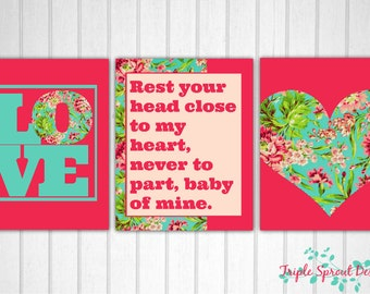Tula Bliss, Nursery Art, Baby Girl Art, Tula Art, Digital Art, Modern Nursery Wall Art, Tula Pattern, Baby Wall Art, Pink Room, Girl Room