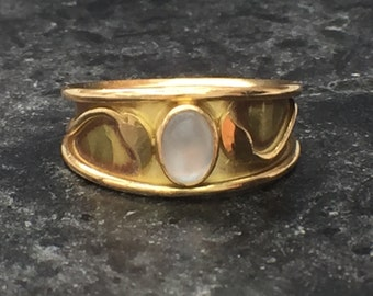 Vintage 1980's 18ct Gold Moonstone Ring