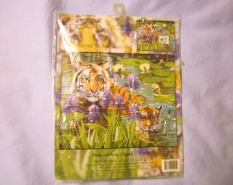 Counted Cross Stitch Kit, unopened, Mom Tiger with Baby in Pond, Candamar Designs,Weberbauer,14 by 11 inches, 14 count